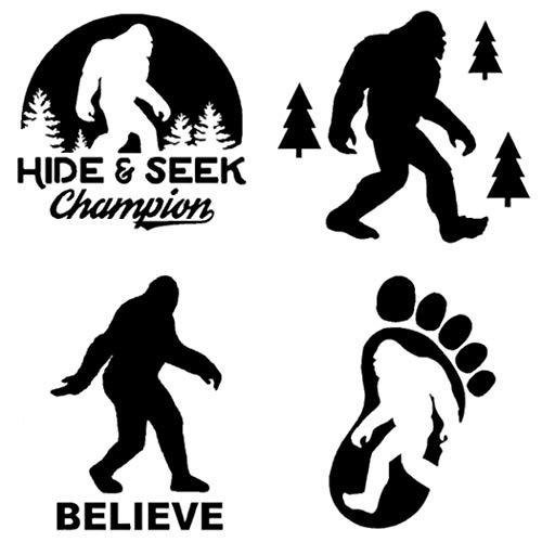 Sasquatch, Bigfoot, Hide and Seek Champion Decals (Black, Small ~3.5')