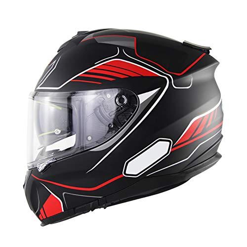 Casco Integral para Moto, Doble Anti Niebla Visera Instalar Bluetooth Interior, ECE Aprobado Casco Modular para Motocicleta Grande para Adultos 55-64cm