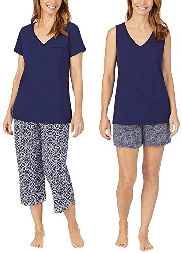 Carole Hochman Women's 4 Piece Pajama Set - Tank Top, Short Sleeve Top, Short, and Capri Pant (Blue, Medium)
