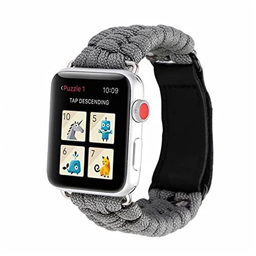 GZMYDF De IWatch Pulsera Series IWATCH Aire Libre Survival Correa Cuerda for IWATCH Band 44 Mm 40 mm 42 mm 38 mm de Cuero 5 4 3 2 1 44 mm (Band Color : Gray, Band Width : 42mm or 44mm)