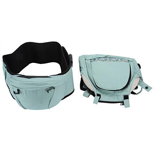 Taburete de cintura para bebé Portabebés Orientado hacia el frente Asiento de cadera para bebé Envoltura ergonómica de cabestrillo para senderismo compras viajes(Verde)