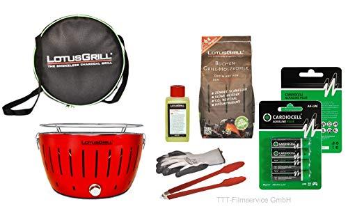 Lotusgrill Premiumset 1 Grill mit USB Anschluß, 1x Grillhandschuh, 1x Buchenholzkohle 1 kg, 1x Brennpaste 200ml, Vorratspack Batterien AA, 1x Transporttasche raucharm Grillen (Feuerrot)
