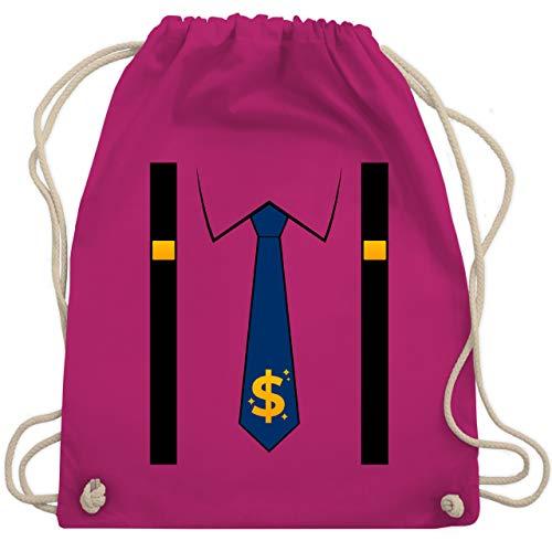 Shirtracer Karneval & Fasching - Anzug Kostüm mit Dollarzeichen Krawatte - Unisize - Fuchsia - WM110_Stoffbeutel - WM110 - Turnbeutel und Stoffbeutel aus Baumwolle
