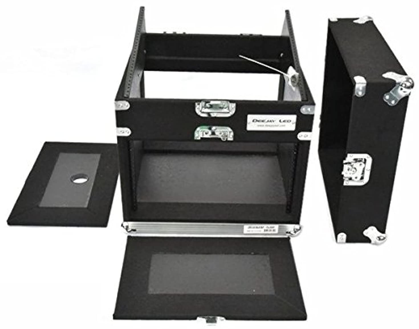 Professional 8u Amp Side 10u Mixer Side Lightweight And Durable Recessed Handles Portable Padlock Cabinet With Double Door, External Spring-loaded Handles DEEJAY LED TBH8U10SLANTWOOD