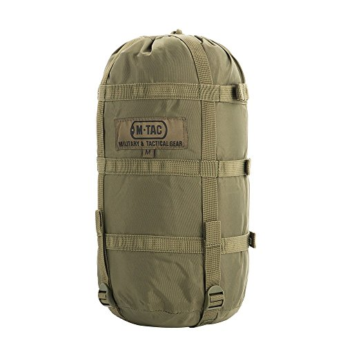 M-Tac Sleeping Bag Compression Stuff Sack Military Water Resistant Compression Bag Lightweight Nylon Compression Sack for Travel, Camping, Hiking, Outdoor Size M (Olive)