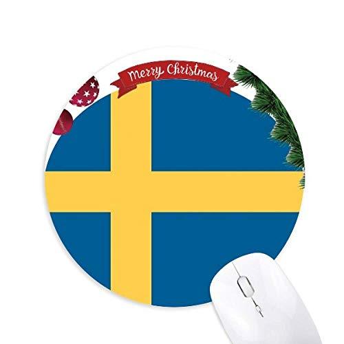 Schweden Nationale Flagge Europa Land Rund um Gummi Maus Pad Weihnachtsbaum Mat