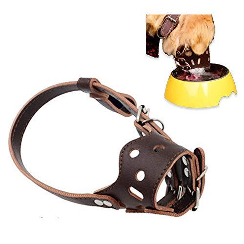 Oukeyi verstellbarer Maulkorb für Hunde als Bissschutz, atmungsaktiv, Sicherheit, Leder, gegen Beißen und Bellen, Größe M, braun