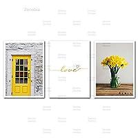 風景キャンバス絵画黄色の壁アート引用風景北欧のポスターとプリント花の写真リビングルーム家の装飾40x60cmフレームなし