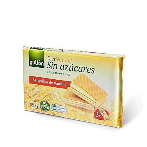 Gullón - Barquillos sin azúcar vainilla Diet Nature Pack de 3, 180g