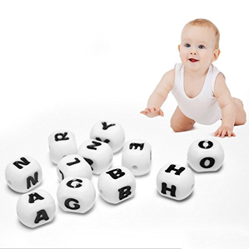 Inchant Letter Beads 26pcs Teether Beads Silicone for Teething in Bulk Can Chew DIY Jewelry Accessories With Gift bag