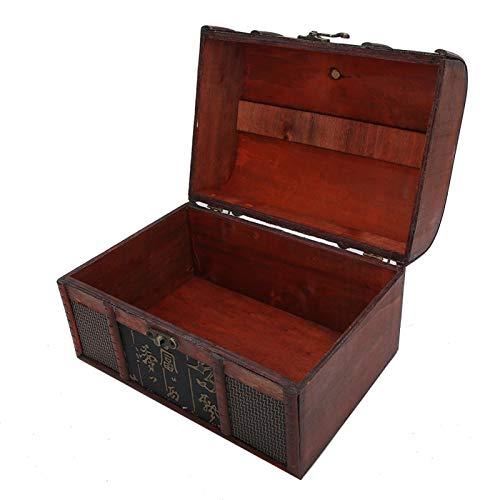 Caja de almacenamiento de joyería, caja de joyería de madera vintage, caja organizadora de exhibición a prueba de(large, Chinese style)