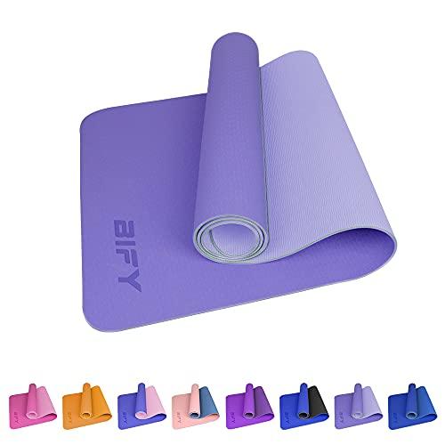 BIFY Yogamatte rutschfeste 183 x 61 x 0,6cm Gymnastikmatte Premium Umweltfreundliche Trainings-Fitnessmatte für Pilates Fitness mit Schultergurt