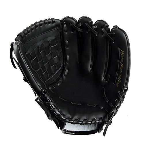 TEET Baseballhandschuh PU-Leder-Baseball-Handschuhe Linke und rechte Hand Erwachsene Baseballhandschuh für Erwachsene Kinder-Jugend (Color : Black, Size : Left Hand 12.5