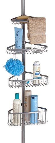 mDesign Teleskop Duschregal - ohne Bohren zu montierende Duschablage aus Metall - ideal für Shampoo, Rasierer, Schwämme und sonstiges Duschzubehör - silberfarben