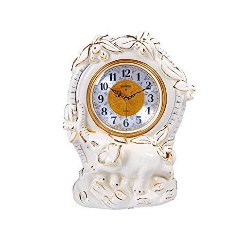 ZCZZ Reloj de Escritorio, Reloj de Escritorio de cerámica de 13,7 Pulgadas, Reloj de Chimenea Blanco silencioso con números arábigos, Reloj de Escritorio con Pilas