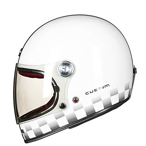 Dgtyui Casco Motocross integrale in fibra di vetro Casco moto vintage Casco moto retrò ultraleggero con fibbia ad anello doppia D - Bianco nero lucido X XL