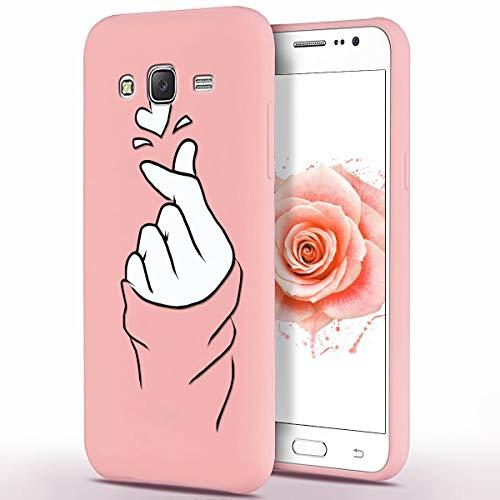 ZhuoFan Funda Samsung Galaxy J3 2016, Cárcasa Silicona Rosa con Dibujos Diseño Suave Gel TPU Antigolpes de Protector Piel Case Cover Bumper Fundas para Movil Samsung GalaxyJ3, Dedo del corazón