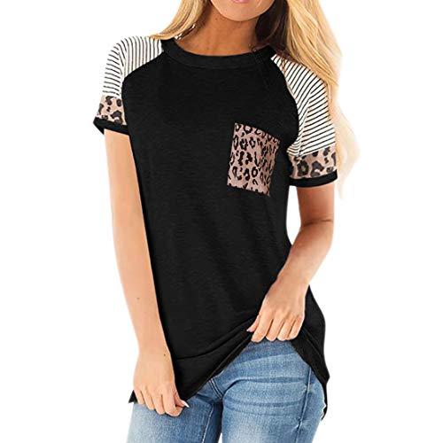 Tops con Estampado de Leopardo para Mujer Camiseta de Manga Corta con Cuello Redondo Camiseta básica Informal Camisetas de Rayas Tops con Estampado de Costura de Color Blusa Camisa Suelta Informal