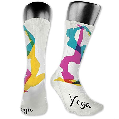 Soft Mid Calf Length Socks,Different Yoga Poses Energetic Female In Motion Pilates Human Health Wellbeing Design,Women Men Socks Cotton Casual Funny Cute