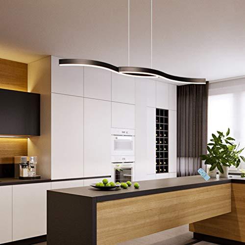 Küchenlampe Pendelleuchte LED Esstischlampe Dimmbar Esszimmer Hängelampe Modern Design Decke Lampe mit Fernbedienung Hängeleuchte Höhenverstellbar Landhaus Deko Bar Kronleuchter (Schwarz)