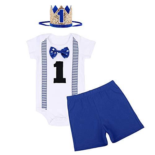 FYMNSI Conjunto de 3 piezas para beb de 1 ao, de algodn, con pajarita de manga corta, pelele + pantalones cortos + corona para la cabeza, disfraz para sesiones de fotos Azul real 05. 1 Aos