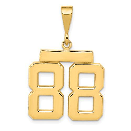 14k Yellow Gold Medium Polished Number 88 Charm Pendant