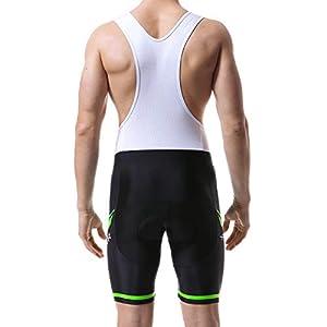 X-TIGER Hombres de Bicicleta con 5D Gel Acolchado MTB Ciclismo Tirantes Culotte Pantalones Cortos Culotes (XXL=XL(EU), Verde Culotte Pantalones)