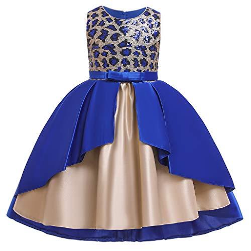 Livoral Mädchen Schönheit Kleid Blume Baby Prinzessin Brautjungfer Kleid Geburtstagsfeier Hochzeitskleid(A-Blau,130)