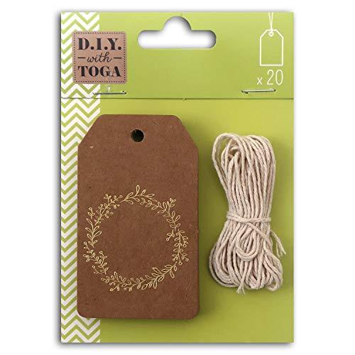 D.I.Y with Toga STY044, Lot de 20 Étiquettes Tags avec Ficelle, Autre, Or, 4.5 x 8 x 0.1 cm