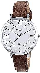 Fossil Damen Analog Quarz Uhr mit Leder Armband ES3708