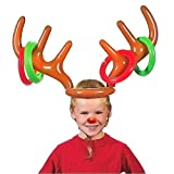DERAYEE Christmas Inflatable Reindeer Antler Hat with Rings Party Toss Games for Kids All Family