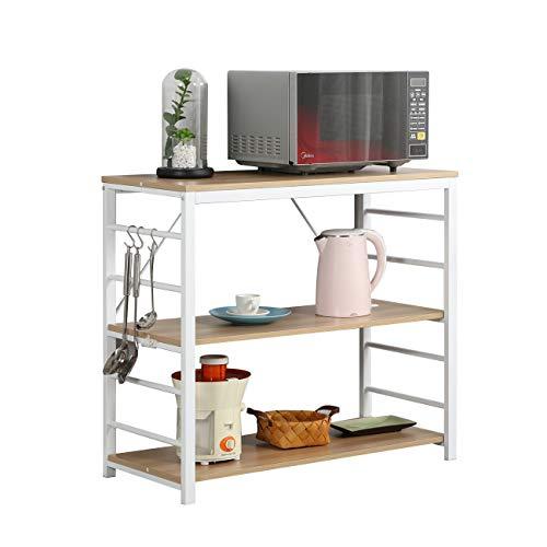 SogesHome Küchenregal Frühstücksbar Küchenarbeitsplatz Standregal aus Metallframe und Hochwertigen Holzwerkstoffen 90 * 40 cm, weiße Eiche SH-LD-MR01MO
