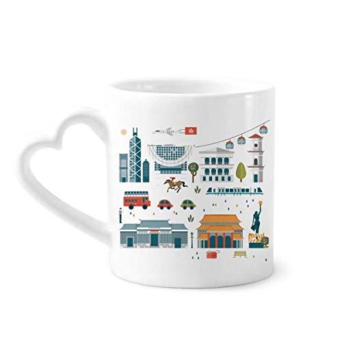 DIYthinker Hong Kong Wertvolle Visiting Sachen Kaffeetassen Keramik Keramik-Schale mit Herz Griff 12 Unzen Geschenk Mehrfarbig