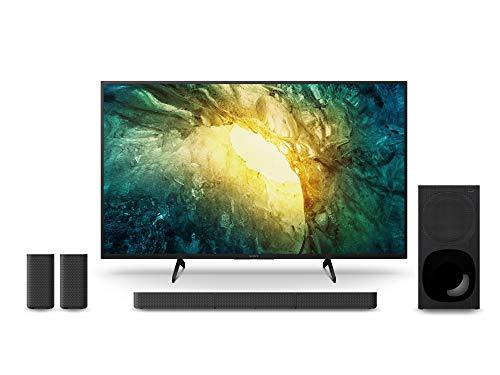 Sony KD-43X7055 Bravia 108 cm (43 Zoll) Fernseher (LED, 4K Ultra HD (UHD), High Dynamic Range (HDR), Smart TV, 2020 Modell) Schwarz + 5.1.-Kanal-Soundbar (inkl. kabelgebundenem Subwoofer) Schwarz