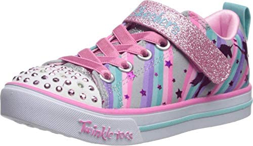 Skechers baby girls Sparkle Lite magical Rainbows Sneaker Grey Multi 8 Toddler US product image