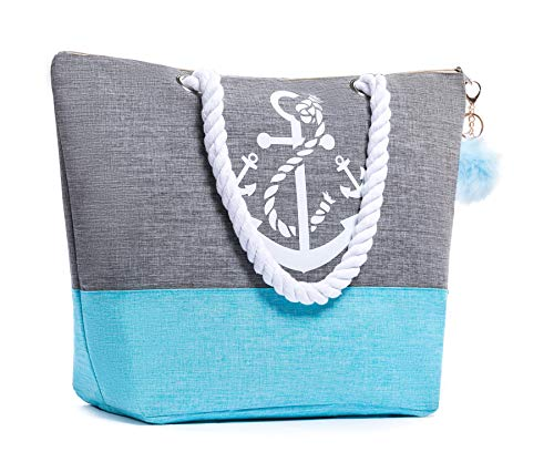 Waterproof Large Tote Beach Bag For Women Top Zipper Closure Cotton Handles with Pompom (Blue)