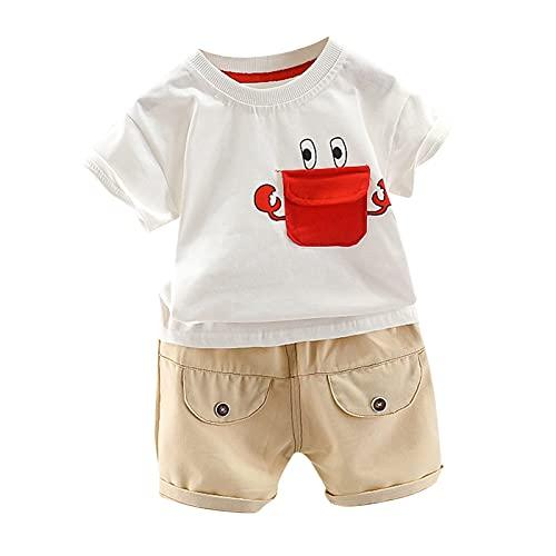 Briskorry Baby Jungen Kleidung 2PCS Cartoon Krabben Print Top Sommer Baby Bekleidung T-Shirt Shorts Outfit Set + Elastic Pants Baby Kleidung Set Casual Oberteil Shorts Anzug