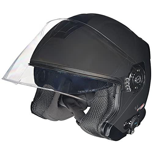 RF-586 Bluetooth Jethelm Motorradhelm Jet Motorrad Roller Bobber Helm rueger, Farbe:Schwarz Matt, Größe:M (57-58)