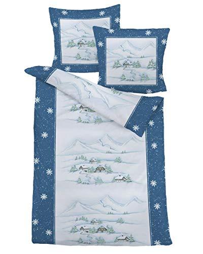 Dormisette Feinbiber Bettwäsche Berge blau 135x200 cm + 80x80 cm