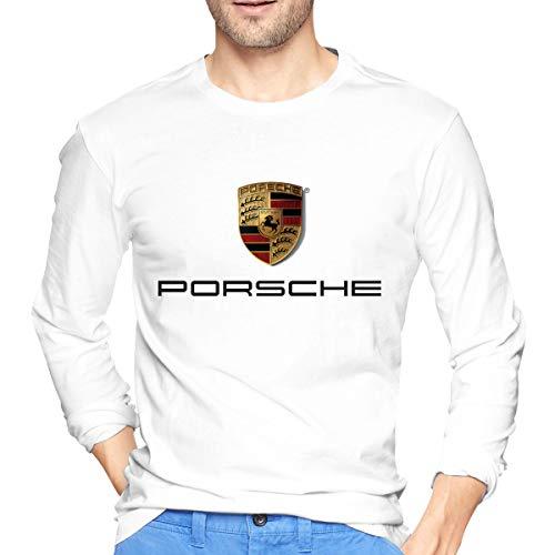 ArmyZ Herren T-Shirts Porsche-Logo Langarm Tee Casual Baumwolle Jersey Shirts