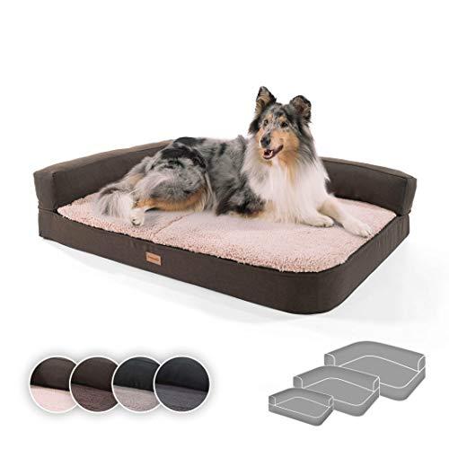 brunolie Odin großes Hundesofa in Beige, waschbar, orthopädisch und rutschfest,...