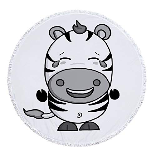 Ronde Strandhanddoek Oversized Dik Deken, microvezel stof met katoen kwastjes franje, Novelty Surprise Cartoon Paard Emoji print tapijt, snel droog zand proof gebied tapijt voor yoga kamp picknick