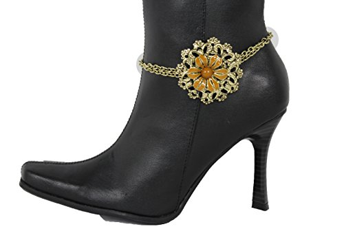 TFJ Women Western Fashion Jewelry Boot Bracelet Gold Metal Chain Shoe Anklet Brown Flower Bling Charm