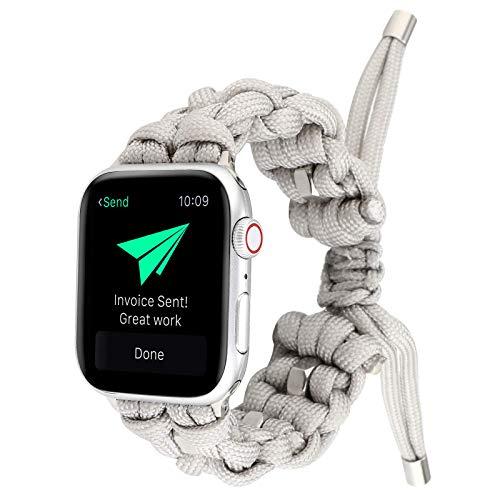 2021 nueva correa trenzada con cordón de paraguas para exteriores, adecuada para correa de nailon retráctil para Apple Watch, compatible, universal para hombres y mujeres, 38/40/42/44 mm