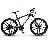 Bicicletas de Montaña Bicicleta de montaña de 26 pulgadas con horquilla de suspensión,Bicicletas de montaña de 24 velocidades con doble freno de disco,Bicicleta de carretera de ciuda(Color:Rojo negro)