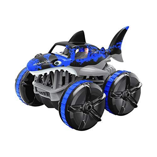 Huhu833 Ferngesteuertes Auto Kinderspielzeug RC Stunt Offroad Auto Fernbedienung Haifischlicht, Wiederaufladbar Akku Mädchen Elektrisch Rennwagen Radio Buggy Indoor Outdoor Kinder (Blau)