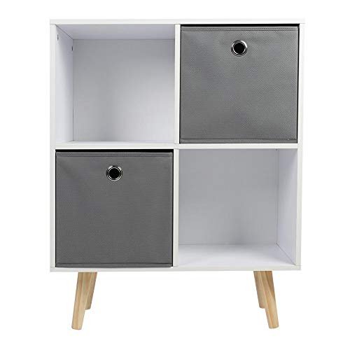 Zoternen Bücherregal mit füßen und 2 Vliesstoffe schubladen, spanplatte+ kiefernholz lagerschrank,bücherregal (weiß + grau) 60 * 29 * 75cm