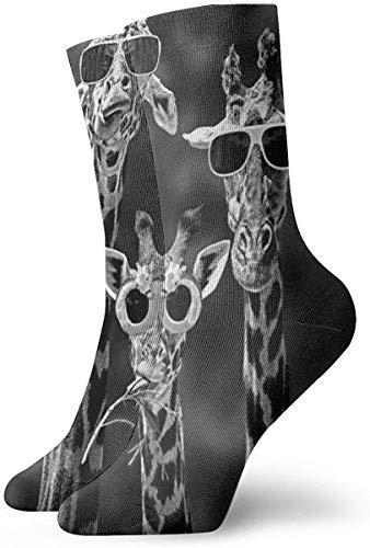 Rcdeey Novedad Unisex Jirafa 3D con gafas de sol Calcetines deportivos divertidos impresos divertidos