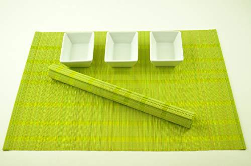 4 faite à la main en bambou Sets de table, sets de table avec fine de qualité, Lot de 4, Vert citron, Pj003