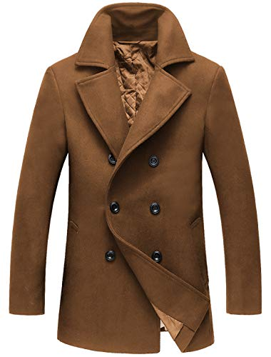 chouyatou Men's Classic Notched Collar Double Breasted Wool Blend Pea Coat (Medium, Brown)